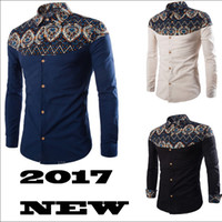 Wholesale Design Shirt Flower - 2017 New Arrival Men Shirt Pattern Design Long Sleeve Floral Flowers Print Slim Fit Man Casual Shirt Fashion Clothing M-4XL RF0072