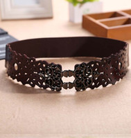 Wholesale Vintage Girdles - Wholesale- 2016 new arrival Europe fashion vintage hollow Carving leather Elastic female belt girdle metal ring tide Waistband for women