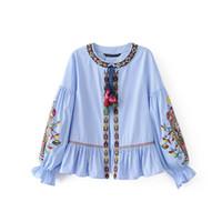 Wholesale New Korean Women Fashion Blouse - 2017 spring new embroidered striped shirt female sleeve Korean version women blouse coat large size loose shirt TY2120