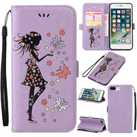 Wholesale Purple Butterfly Iphone Cases - For iPhone 6 7 Plus 5 Luxury Butterfly Girl Case with Wallet Card Slot For Sony Z3 Z5 Mini