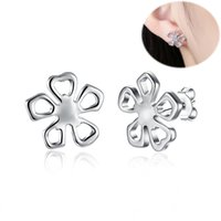 Moda Stud Earrings Lucky Prata Prata Brincos Flower Stud Earrings para Mulheres como Ano Novo Gift Simple Style Gril Accessories Wholesale