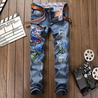 Wholesale Owl Flying - Hot Sale Owl Embroidered Stitching Robin Jeans Men High Quality Patchwork Biker Jeans New Designer Denim Pants Fashion Brand Clothing 29-38
