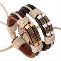 jungen armband weben großhandel-Neues einfaches Art und Weise gesponnenes Armband für Mann-Bronzen-Frühlings-hölzerne Korn-Leder-Armbänder schwarz / Brown-justierbare Größe 10PCS Jungen-Geschenke