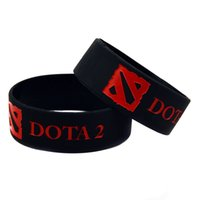 Wholesale Silicone Wristbands For Parties - Wholesale 50PCS Lot 1'' Wide Band DOTA 2 Silicone Wristband, Perfect To Use In Any Benefits Gift For Gamer