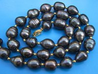"Wholesale Tahitian Pink Pearl Necklace - HOT SALES 20""11-13MM NATURAL TAHITIAN GENUINE BLACK DROP PEARL NECKLACE 14k clas"