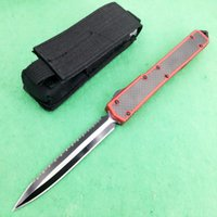 Wholesale E Pocket - microtech Makora II 106-1 T6-6061 D E D2 blade red handle Hunting Pocket Knife collection knives Xmas gift for men 1pcs freeshipping