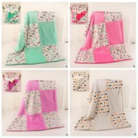 Wholesale Infant Unisex Fleece - Baby INS Blankets Fleece Hole Warm Swaddle Blanket Kids Dots Contrast Color Print Throw Blanket Infant Super Soft Bedding Sofa Blanket J443