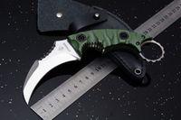 caisses achat en gros de-Nouveau Strider Défensive Karambit Survie Couteau Droit D2 Lame G10 Poignée En Plein Air Tactique Camping Chasse Couteau de Poche avec Étui En Cuir