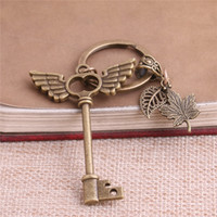 Wholesale Metal Rings Wings - 2 pcs lot Metal Antique Bronze Key Charm Key Ring DIY Metal Wings Key Pendant Jewelry Making C0250