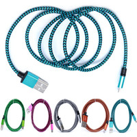 Wholesale Packaging Netting - Universal USB Cables 1m Micro USB Cable Braided Fabric Cables V8 Data Cables 3ft Net Mesh Charger Data with package