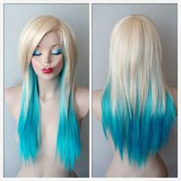 Wholesale Long Layers Wig - 75CM Blonde  Turquoise Ombre Wig Scene Wig Long Length Soft Layers Hairstyle Wig for Daily Use or Cosplay Party Fashion Natural Beauty Hair