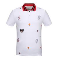 c7e20a15 Wholesale black white striped polo online - New fashion men brand polo t  shirt embroidery Snake