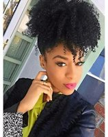 Fashion Rangée de cheval, Twins Buns Clip In Elastic Drawstring Ponytail, Afro-américain Black Short Afro Kinky Curly Hair Extension 1 pièce