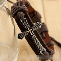 Wholesale Bar Modelling - Wholesale- Christian Bracelet -2016 Explosion Models Cowhide Leather Cross Christian Bracelet Jewelry