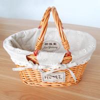 Wholesale Picnic Basket Food - 1   set Hand made Woven basket Linen lining Wicker material Beach handbag Flowers Fruit Picnic Gift box