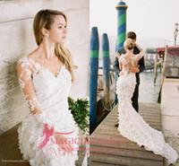 Wholesale Floral Embellishments - 2016 Mermaid Lace V-Neck Wedding Dresses 3D-Floral Appliques Heavily Embellishment Long Sleeve Court Train Vintage Garden Beach Bridal Gowns