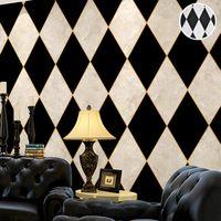 duvarlar için siyah beyaz duvar kağıdı toptan satış-Oturma Odası Yatak Odası için Toptan-Siyah ve Beyaz Elmas Kareli veya Damalı Wallpaper Vinil Mermer Eşkenar Dörtgen Duvar Kağıdı