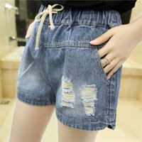 Wholesale-2016 neue Mode Plus Größe Frauen Sexy Hot Short Loch Hosen Sommer Casual Denim Hot Shorts Elastische Taille Jeans Hot Pants