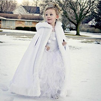 Wholesale Hooded Cape Warm - Winter Children's Cloak Faux Fur Girl's Long Cape Xmas Kids Wraps Good Quality Hooded With Hand Warm Wholesale Price