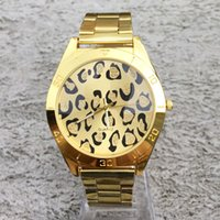 Wholesale Leopard Gold Watch - Fashion Brand women men Unisex Leopard style gold Steel Metal Band quartz wrist watch full logo C11