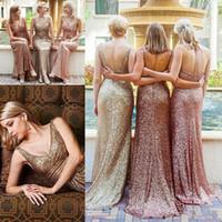 vestido de dama de honor de la boda del color de la mezcla al por mayor-Rose Gold Sequins País Vestidos largos para dama de honor 2018 Estilo mixto Sin respaldo Tallas grandes Junior Maid of Honor Wedding Party Vestidos de invitados Baratos