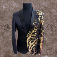 Wholesale Purple Dancers - boy fashion jacket singer dancer wear Custom male sequins stage blazer prom party outfit coat bar star concert costumes nightclub