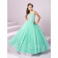 güzel kız danteli toptan satış-Güzel Nane Yeşil Kız Alayı Elbiseler için 2018 Inci Sparkly Kristal Lace Up Tül Çocuk Çiçek kız Balo