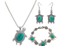 Wholesale 14k Turquoise Bracelet - Fashion Women Retro Tibetan Silver Turquoise Crystal Pendant Necklace Bracelet Earrings Set Party