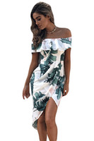 Print Dresses 2017 Abbigliamento estivo Tropical Palm Leaf Ruffle Off Wrap Boho Dress Mid-Calf Vestidos Estampado