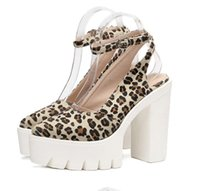 Wholesale Leopard Chunky Heels - Sexy leopard animal prints pointed toe chunky heel shoes with ankle strap designer shoes 2017 size 34 to 39