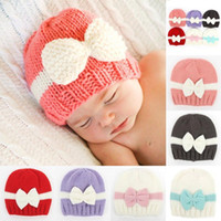 Wholesale Crochet Bows For Hats - Knitted Boys Cap Kids Girls Boys Bow knot Knitted Crochet Hat Newborn Winter Warm Cap Winter Hats For Girl