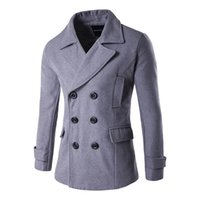 Mens Pea Coat Double Breasted Turndown Collar Мужская куртка с капюшоном Мужская ткань F0051