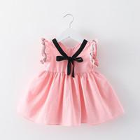 Wholesale Korean Infant - 4 colors hot Korean styles New Arrivals baby girl fuffles sleeveless dress v-enck with bow 100% cotton infant girl dress