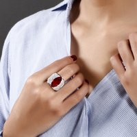 Wholesale Big Eye Ring - Large Horse eye shape with Red Blue Clear big cz ring Long design unique jewelry Accessories for woman Bands Trendy ring