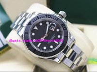 Wholesale Top Brand Bracelets Men - Luxury Wristwatch Stainless Steel Bracelet 40mm Black Dial White Gold 116655 Brand New In Box Automatic Movement Men Watches Top Quality