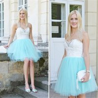 I vestiti da promenade in rilievo blu Becks WhiteSky Sweetheart Tulle promenade Sleeveless Backless Mini abiti da sera Prom Dresses Short Homecoming Dresses