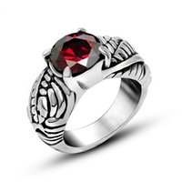 Wholesale Hot Sale Retro Gothic Fashion Carved Stainless Steel Red Cubic Zirconia Ring Size Mix Order