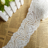 Wholesale Elastic Stretch Lace Trim - 8cm Width off White Stretch Lace Trim(free shipping) eyelet Elastic Lace trimming for DIY Clothes and underwear lace trims Decoration EL025