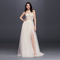 Wholesale Beaded Dress Slit Skirt - NEW! Strapless Wedding Dress with Tulle Slit Skirt Sheer Top Bodice Appliques Beaded Sexy Bridal Dresses vestido de noiva SWG764