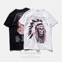Wholesale Chief Skull - Free shipping New Brand hip hop American tide prints Indian Kanye yeezus chiefs skull skate street casual men t-shirt