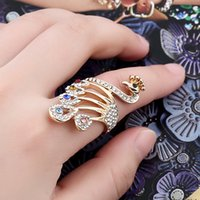 Peacock Ring Luxury Queen Fancy Natural Mystic Topaz Gold Jewelry Anillo de cristal austriaco para mujer
