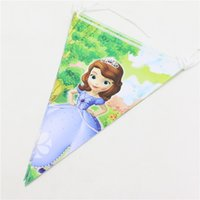 Wholesale Cartoon Sofia Theme Paper Flag Birthday Decoration Party Banner Bunting For Kids Girls Event Party Supplies pack