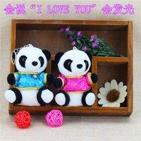 Wholesale Chengdu Panda - Authentic costume panda Doll Plush Keychain will say love will shine Sichuan Chengdu tourism souvenir