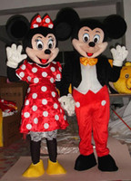 Wholesale Mouse Character Costumes - Couple Mickey Minne Mouse Cartoon Mascot Costume School Mascots Character Men Costumes For Guys Fast Ship