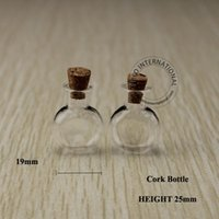 Wholesale Wholesale Vintage Glassware - Wholesale- 20pcs x High Quality 1-2ml Drum Shape Transparent Glass Cork Bottle, Vintage Small Glassware, Free Shipping