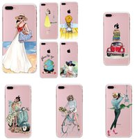 Para o caso do iphone 7 Ultra fino Transparente Travel Girls Painting Soft TPU Cases Back Cover Para iphone 5s 6s Plus 7 Plus Wholesale 015