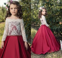 Wholesale Multi Color Beaded Pageant Dresses - Lace Long Sleeves 2017 Flower Girl Dresses Beaded Satin Vintage Tulle Little Girls Pageant Birthday Gowns