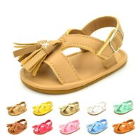 Wholesale wholesale shoe soles for babies - Baby Prewalker Tassels Sandals Anti slip Soft Rubber Sole Infant Moccasins for Girls and Boys Infant Walking Shoes