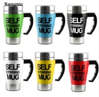 Wholesale Electric Heated Coffee Cup - Stainless Steel Automatic Mixing Cup Self Stirring Milk Tea Coffee Mug Electric Stir Drinkware Plastic Heat Drink Tools TOP1817