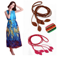 Wholesale Hands Tied Rope - Wholesale- Lady hand made Leavs belts for women Leather like Braided Belt Rope Tie all-match wasit Chain 7 color apparel accessory
